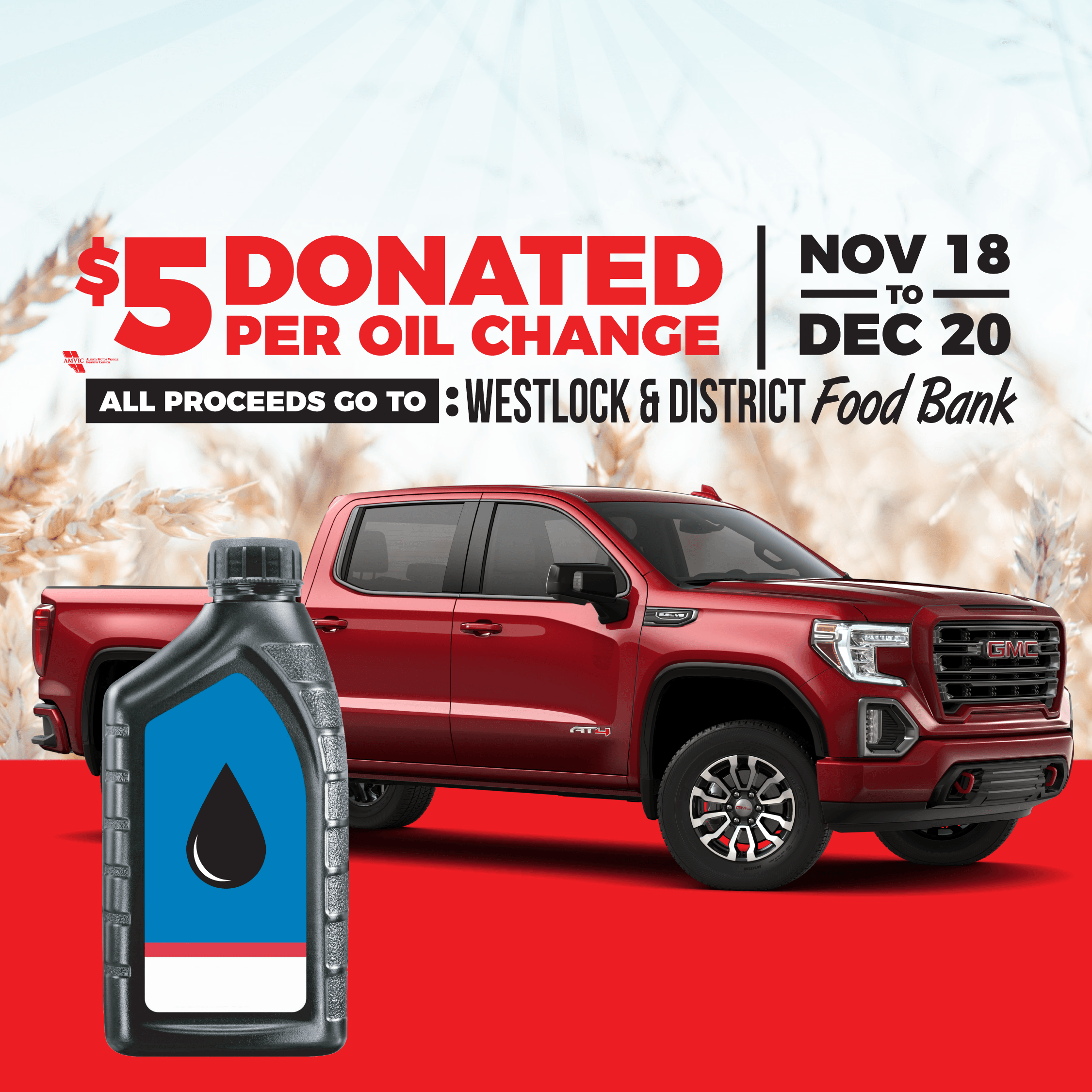 When you get your Oil Changed we will donate $5 to our local foodbank